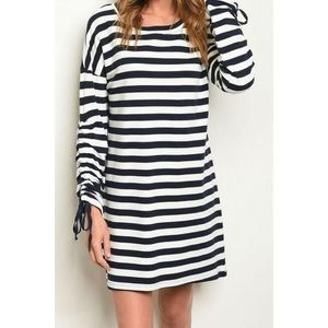 Dresses & Skirts - Navy Blue Stripped Sweater Dress With Tie Sleeve